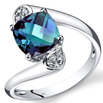 14K White Gold Created Alexandrite Diamond Bypass Ring Cushion Cut 2.58 Carats Total