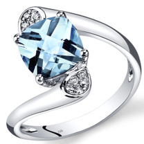 14K White Gold Aquamarine Diamond Bypass Ring Cushion Cut 2.08 Carats Total