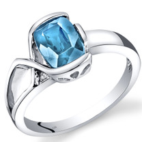 14K White Gold Swiss Blue Topaz Diamond Bezel Ring  1.51 Carats Total