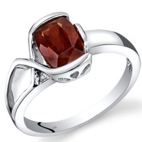 14K White Gold Garnet Diamond Bezel Ring  1.51 Carats Total