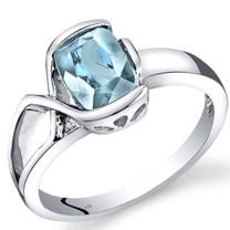 14K White Gold Aquamarine Diamond Bezel Ring  1.01 Carats Total
