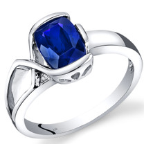 14K White Gold Created Blue Sapphire Diamond Bezel Ring  1.76 Carats Total