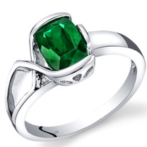 14K White Gold Created Emerald Diamond Bezel Ring  1.26 Carats Total