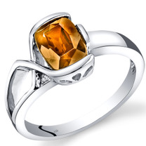 14K White Gold Citrine Diamond Bezel Ring  1.26 Carats Total