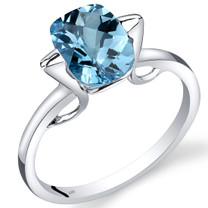 14K White Gold Swiss Blue Topaz Minmalistic Solitaire Ring  2.5 Carats