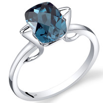 14K White Gold London Blue Topaz Minmalistic Solitaire Ring  2.5 Carats