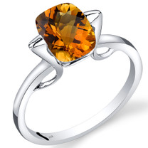 14K White Gold Citrine Minmalistic Solitaire Ring  2 Carats