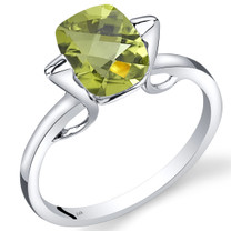 14K White Gold Peridot Minmalistic Solitaire Ring  2 Carats