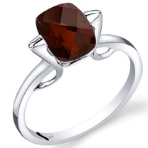 14K White Gold Garnet Minmalistic Solitaire Ring  2.5 Carats