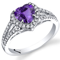 14K White Gold Amethyst Diamond Halo Ring Heart Shape 1.65 Carats Total