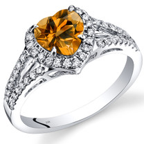 14K White Gold Citrine Diamond Halo Ring Heart Shape 1.40 Carats Total