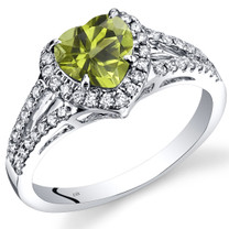 14K White Gold Peridot Diamond Halo Ring Heart Shape 1.65 Carats Total