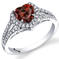 14K White Gold Garnet Diamond Halo Ring Heart Shape 1.90 Carats Total