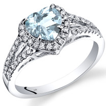14K White Gold Aquamarine Diamond Halo Ring Heart Shape 1.40 Carats Total