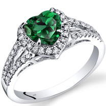 14K White Gold Created Emerald Diamond Halo Ring Heart Shape 1.65 Carats Total