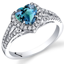 14K White Gold Created Alexandrite Diamond Halo Ring Heart Shape 1.90 Carats Total