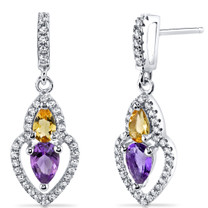 Amethyst and Citrine Earrings Sterling Silver Pear Shape 1.00 Carats Total SE8526