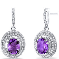 Amethyst Halo Dangle Earrings Sterling Silver 2.00 Carats Total SE8534