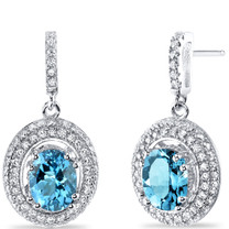 Swiss Blue Topaz Halo Dangle Earrings Sterling Silver 3.00 Carats Total SE8536