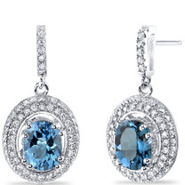 London Blue Topaz Halo Dangle Earrings Sterling Silver 3.00 Carats Total SE8538