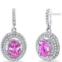 Created Pink Sapphire Halo Dangle Earrings Sterling Silver 3.50 Carats Total SE8544