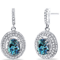 Simulated Alexandrite Halo Dangle Earrings Sterling Silver 3.50 Carats Total SE8546
