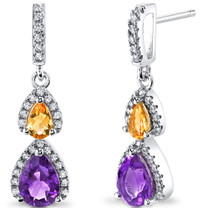 Amethyst and Citrine Open Halo Earrings Sterling Silver 2 Stone 1.50 Carats Total SE8550