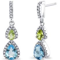 Swiss Blue Topaz and Peridot Open Halo Earrings Sterling Silver 2 Stone 2.00 Carats Total SE8552