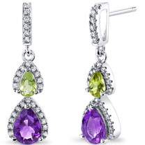 Amethyst and Peridot Open Halo Earrings Sterling Silver 2 Stone 1.50 Carats Total SE8558