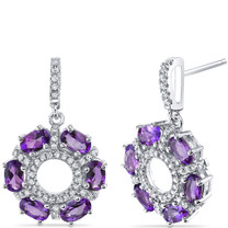 Amethyst Wreath Earrings Sterling Silver Oval Cut 3.00 Carats Total SE8562