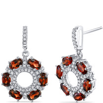 Garnet Wreath Earrings Sterling Silver Oval Cut 3.00 Carats Total SE8564