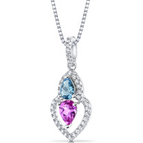 Created Pink Sapphire and Swiss Blue Topaz Pendant Necklace Sterling Silver Pear Shape 1.50 Carats Total  SP11150