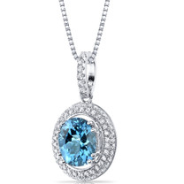 Swiss Blue Topaz Halo Pendant Necklace Sterling Silver 2.75 Carats SP11156