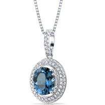 London Blue Topaz Halo Pendant Necklace Sterling Silver 3.00 Carats SP11158