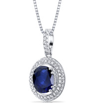 Created Sapphire Halo Pendant Necklace Sterling Silver 3.50 Carats SP11160