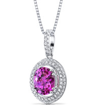 Created Pink Sapphire Halo Pendant Necklace Sterling Silver 3.75 Carats SP11164