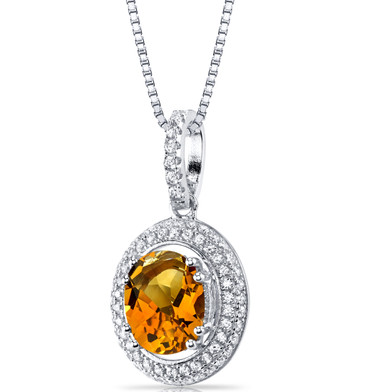 Created Padparadscha Sapphire Halo Pendant Necklace Sterling Silver 3.50 Carats SP11168