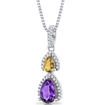 Amethyst and Citrine Open Halo Pendant Necklace Sterling Silver 2 Stone 1.25 Carats Total SP11170