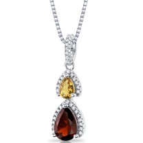 Garnet and Citrine Open Halo Pendant Necklace Sterling Silver 2 Stone 1.75 Carats Total SP11176