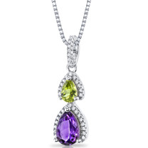 Amethyst and Peridot Open Halo Pendant Necklace Sterling Silver 2 Stone 1.50 Carats Total SP11178