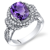 Amethyst Gallery Ring Sterling Silver Oval Shape 2.25 Carats Sizes 5 to 9 SR11326
