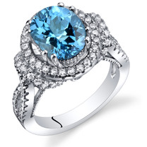 Swiss Blue Topaz Gallery Ring Sterling Silver Oval Shape 3.00 Carats Sizes 5 to 9 SR11330