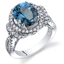 London Blue Topaz Gallery Ring Sterling Silver Oval Shape 3.25 Carats Sizes 5 to 9 SR11332