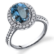 London Blue Topaz Halo Milgrain Ring Sterling Silver 2.25 Carats Sizes 5 to 9 SR11344