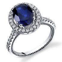 Created Sapphire Halo Milgrain Ring Sterling Silver 2.75 Carats Sizes 5 to 9 SR11346