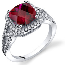 Created Ruby Cushion Cut Checkerboard Ring Sterling Silver 3.00 Carats Sizes 5 to 9 SR11364
