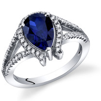 Created Sapphire Ring Sterling Silver Tear Drop 1.75 Carats Sizes 5 to 9 SR11396