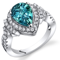 Simulated Alexandrite Tear Drop Checkerboard Ring Steriling Silver 2.50 Carats Sizes 5 to 9  SR11402
