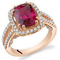 Created Ruby Rose Goldtone Halo Ring Sterling Silver 2.75 Carats Sizes 5 to 9 SR11418