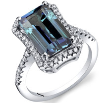 4.25 Carat Simulated Alexandrite Octagon Ring Sterling Silver Sizes 5 to 9 SR11424